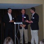 James Leckman, M.D. and Douglas Woods, Ph.D. being thanked by Brad Cohen